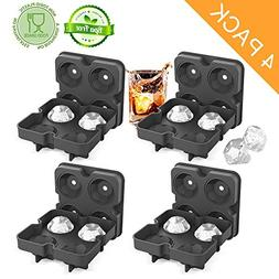 Ice Cube Trays with Lids, Diamond-Shaped Silicone BPA-Free S