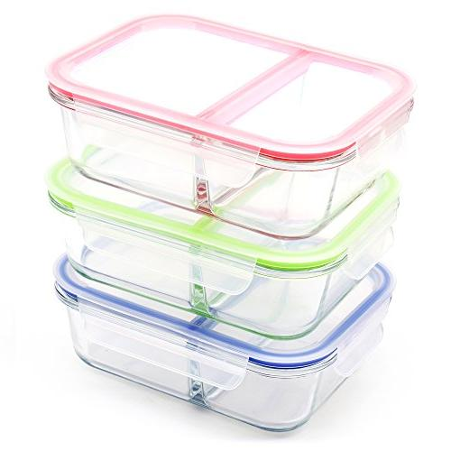 3 pack 36oz glass meal prep containers