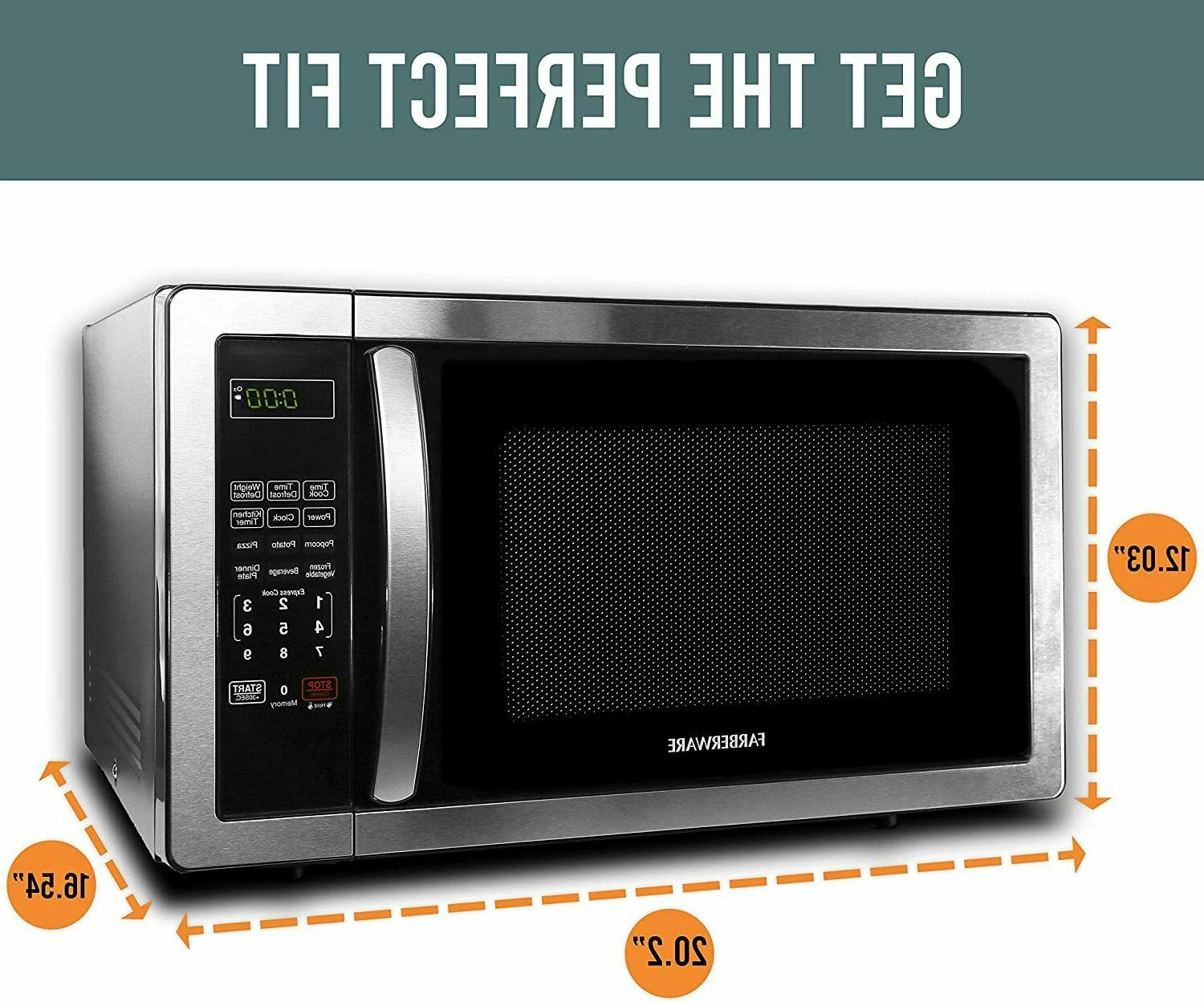Farberware 1.1 Ft. Stainless Steel Microwave Oven 1000W,