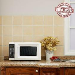 Small 0.7 Cu. Ft. White Microwave Oven 10 Power Levels Kitch